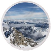Round Beach Towel featuring the photograph Bavarian Alps, Zugspitze by Dawn Richards