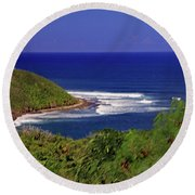 Round Beach Towel featuring the photograph Bay In St Kitts by Tony Murtagh