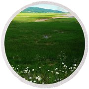 Bay Of Fundy Landscape Round Beach Towel