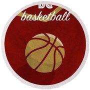 Bc University Retro College Basketball Team Poster Round Beach Towel
