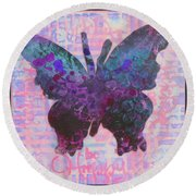 Be Happy Butterfly Round Beach Towel