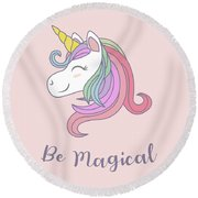 Be Magical - Baby Room Nursery Art Poster Print Round Beach Towel