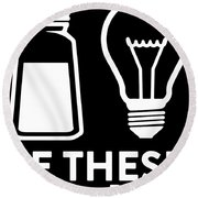 Be These Matthew Black And White For You Science Round Beach Towel