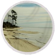 Beach And Trees Round Beach Towel