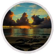 Round Beach Towel featuring the photograph Beach At Sunset 2 by Stuart Manning