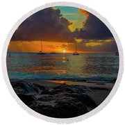 Round Beach Towel featuring the photograph Beach At Sunset by Stuart Manning