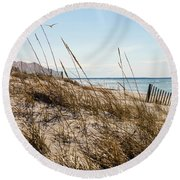 Beach Fence Cape Cod Round Beach Towel