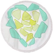 Beach Glass Heart Art Round Beach Towel