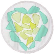Beach Glass Heart Art Round Beach Towel