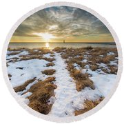 Beach In Frankfort In January Round Beach Towel