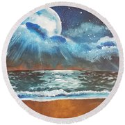 Beach Moon  Round Beach Towel