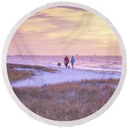 Sunrise Stroll On The Beach Round Beach Towel