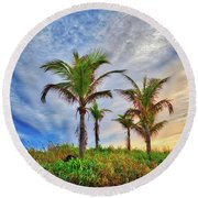 Round Beach Towel featuring the photograph Beach Sunrise Over The Palms by Lynn Bauer