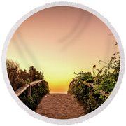 Path Over The Dunes At Sunrise. Round Beach Towel