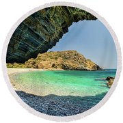 Almiro Beach With Cave Round Beach Towel