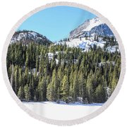 Round Beach Towel featuring the photograph Bear Lake View Of Notchtop Mountain by Dawn Richards