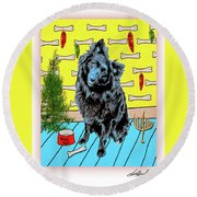 Round Beach Towel featuring the photograph Bear Paw Holiday by Lou Novick