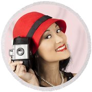 Beautiful Chinese Woman Holding Old Film Camera Round Beach Towel