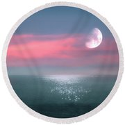 Beautiful Evening In Dreamland By The Sea Round Beach Towel