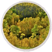 Beautiful Fall Colors At Woods Lake State Wildlife Area Round Beach Towel