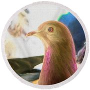 Beautiful Homing Pigeon Painted Round Beach Towel