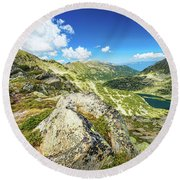 Beautiful Landscape Of Pirin Mountain Round Beach Towel