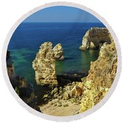Beautiful Marinha Beach From The Cliffs Round Beach Towel