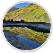 Beautiful Mirror Image On Crystal Lake Round Beach Towel