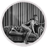 Beautiful Naked Man With Mask Posing On A Sofa Round Beach Towel