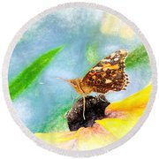 Beautiful Painted Lady Butterfly Round Beach Towel