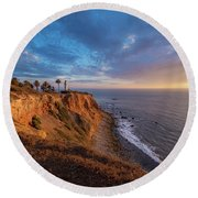 Beautiful Point Vicente Lighthouse At Sunset Round Beach Towel