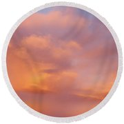 Beautiful Rainbow Sky  Round Beach Towel