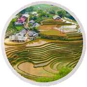 Beautiful Rice Fields, Vietnam Round Beach Towel
