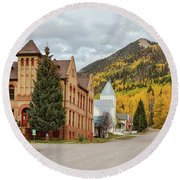 Round Beach Towel featuring the photograph Beautiful Small Town Rico Colorado by James BO Insogna