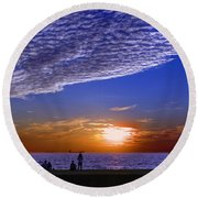 Beautiful Sunset With Ships And People Round Beach Towel