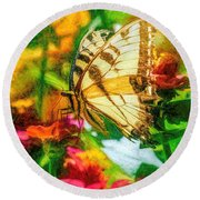 Beautiful Swallow Tail Butterfly Round Beach Towel