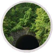 Beautiful Tunnel With Greenery, Nc Round Beach Towel