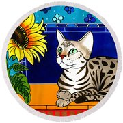 Beauty In Bloom - Savannah Cat Painting Round Beach Towel