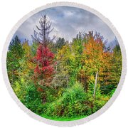 Round Beach Towel featuring the photograph Beauty In The Fall Forest by Lynn Bauer
