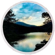 Round Beach Towel featuring the photograph Beaver Brook Lake by Dan Miller