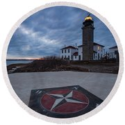 Beavertail Lighthouse Round Beach Towel