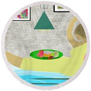 Bed And Breakfast Round Beach Towel