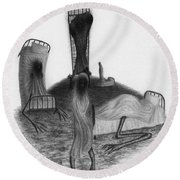 Bed Sheets - Artwork Round Beach Towel