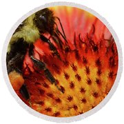 Bee Red Flower Round Beach Towel