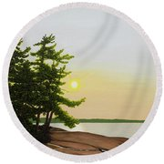 Round Beach Towel featuring the painting Beechey Point by Kenneth M Kirsch
