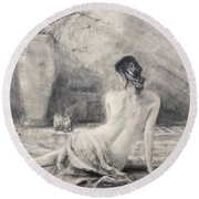 Round Beach Towel featuring the painting Before The Bath by Steve Henderson