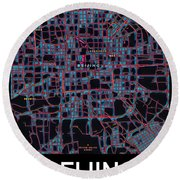 Beijing City Map Round Beach Towel