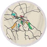 Belgrade, Serbia City Map Round Beach Towel