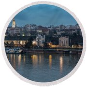 Belgrade Skyline And Sava River Round Beach Towel