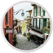 Round Beach Towel featuring the photograph Bellagio Steet, Italy by Dawn Richards